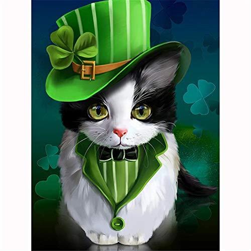 Kit de Pintura de Diamante 5D Pintura de Diamante Paisaje Diamante Bordado Pintura Rhinestone Punto de Cruz Green Hat Cat Kit de Marcador de Punto de Cruz-Square Drill,70x90cm