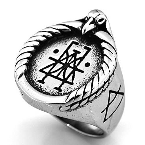 VUJK, anillo motociclista acero inoxidable vikingo Color plateado para hombre, anillos joyería nórdica con símbolo hacha guerrero los Celtics Vintage, 9 2