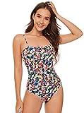 Milumia Women's Sexy Spaghetti Strap Floral Print Cami Bodycon Bodysuit Shirt Tops Multicolor Small