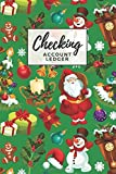 Checking Account Ledger: Santa Snowman Pattern on Green Christmas Cover / Check Register for Personal Checkbook / 2,400+ Entries / Spending Tracker / Great Gift for Organized Person
