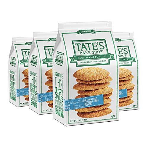 Tate's Bake Shop Thin Crispy Cookies 7 Oz - 4 Count, Gluten Free Coconut Crisp, 28 Ounce