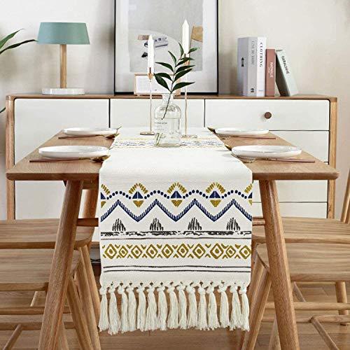 Sxuan Tischläufer 180 x 35 cm, Waschbar Tischdekoration aus Baumwollgewebe mit Quasten für Esszimmer Party Urlaub Dekoration, Beige