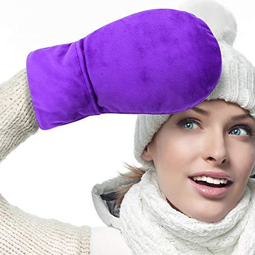 ICEHOF Guanti termici (1 Paio) alla lavanda e perle di argilla naturale - Tessuto morbido terapia termica artrite tunnel carpale scaldamani microonde guanti caldi (viola)