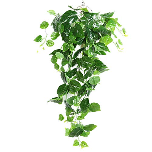 AMOYER Green Plants for Weeding Home Garden Window Stairs Decoration Plastic Artificial Vines Rattan Plant Ivy(grape Leaves)