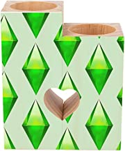 Romantic Wooden Heart Shaped Couple Candle Holders, The Sims Plumbob Candle Holder Heart Pedestal for Valentines Day Weddi...