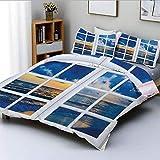 Juego de funda nórdica, paisaje Sunset on the Sea desde la ventana con cortinas abiertas Horizon Silence Relax ArtprintDecorative Juego de cama de 3 piezas con 2 fundas de almohada, azul blanco, el me