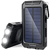 Tainbat Solar Power Bank 20000mAh Portable Charger Solar for Cell Phone, Waterproof External Backup Battery USB Charger with Flashlight Compass for Emergency or Camping Hiking Outdoor