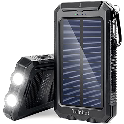 Solar Power Bank, Waterproof Portable Solar-Charger 20000mAh Solar Panel Battery Built-in Flashlight 2 Fast USB Chargers for iPhone Tablet Samsung Android Cell Phone