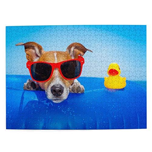 MANISENG Jigsaw Puzzles 500 Stück,Jack Russell Hund auf Einer Matratze im Meerwasser am Strand Sommer mit roter Sonnenbrille,Family Large Puzzle Game Artwork für Erwachsene Teens Kids