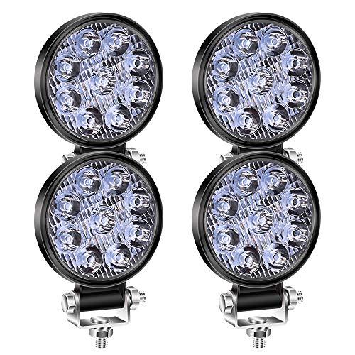 YnGia Luz de trabajo LED redonda de 27W, 4 unidades, mini foco ámbar, luz antiniebla para conducción todoterreno, luz ultrafina de 3 pulgadas, 12V 24V, para coche, barco, SUV, ATV, camión, tractor