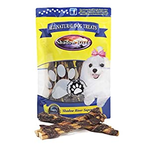 Shadow River 9 Inch 100% Beef BullyWraps for Dogs – Premium All Natural Beef Jerky Wrapped Bully Sticks – Grass Fed Grain Free Long Lasting Chew Treats – Pack of 10