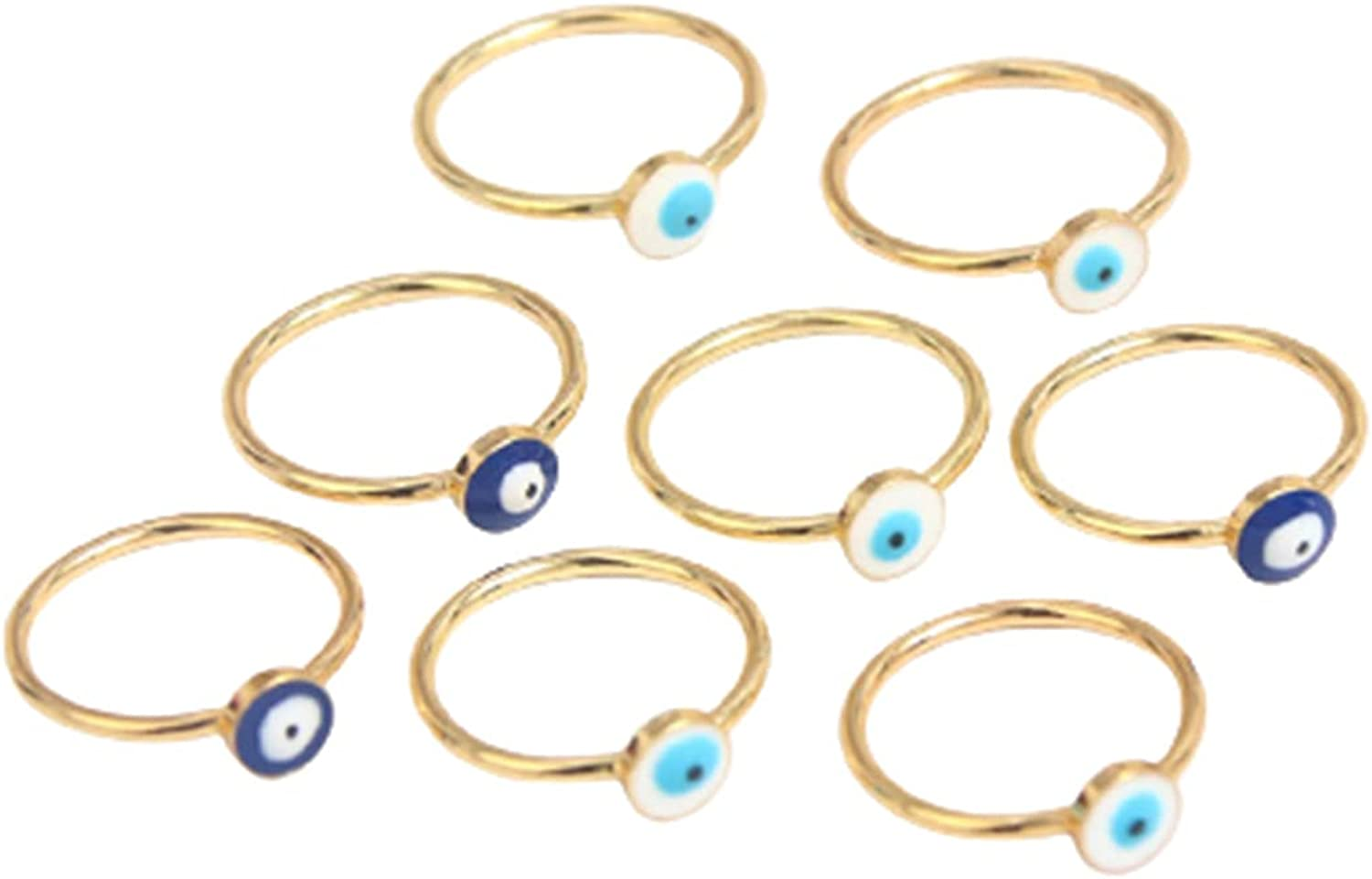 Vintage Boho Evil Eye Rings Gold Plated Enamel Eyes Knuckle Ring Set Friendship Protection Good Luck Finger Ring for Women Girl Party Jewelry