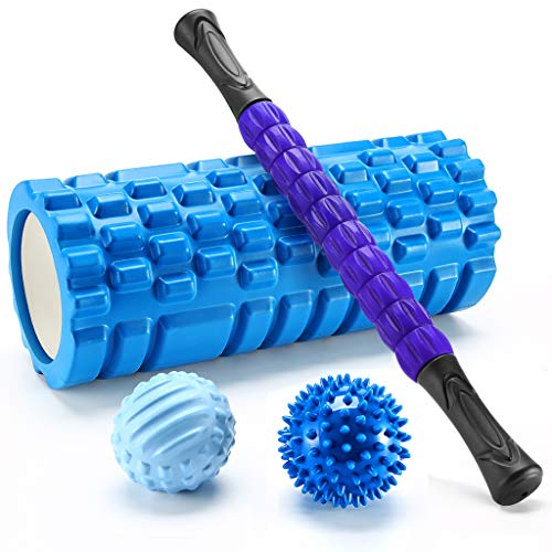 Finether Massage Yoga Roller Set-Foam Roller, Spiky Ball, Roller Stick, Lacrosse Ball per Myofascial Release Massaggio Muscolare, Blu