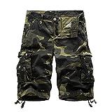 AYG Bermudas Cargo Shorts Hombres Pantalones Cortos Leisure Casual 29-40, A083 army green, 34 Talle x Regular