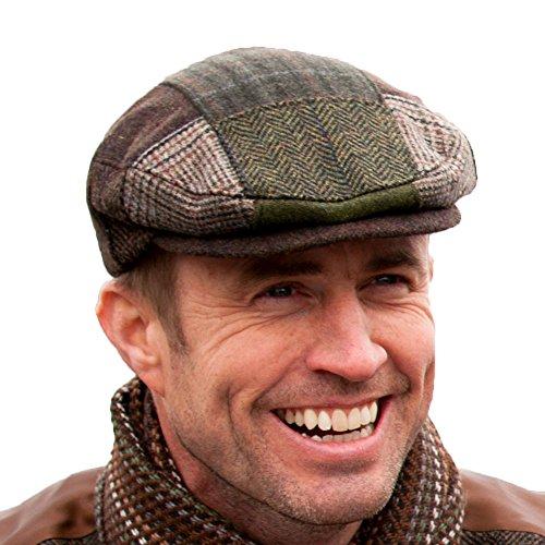 Irish Tweed Patch Cap, Trinity Style, 100% Irish Wool, Made in Ireland, Multi, Large