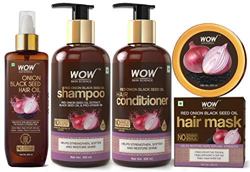 WOW Skin Science Onion Black Seed Oil Hair Care Ultimate 4 Kit (Shampoo + Hair Conditioner + Hair Oil + Hair Mask)