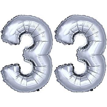 "16 /""Gold Silber Helium Folienballon Geburtstagsparty 0-9 Anzahl Dekor"