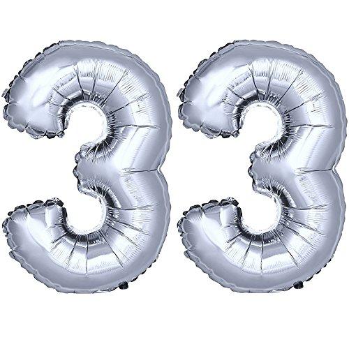 DekoRex® Folienballon Zahlenballon Luftballon Geburtstag Deko 80cm Zahl Silber 33