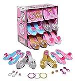 deAO Gioco di Scarpe e Accessori di Principessa Gioco d'Imitazione per Bambini Set di 4 Paia di Scarpe col Tacco e 8 Gioielli Fatto di Plastica