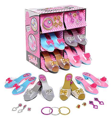 deAO Juego de Zapatos y Accesorios de Princesa Conjunto Infantil de Imitación 4 Pares de Zapatos de Tacón y 8 Joyas Fabricado en Plástico