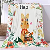 ASPMIZ Easter Bunny Throw Blanket, Spring Floral Bed Blanket, Flowers Rabbit Soft Flannel Blanket Throw, Cozy Blanket for Couch Gift Bedding Sofa Bedroom, 50 x 60 inch