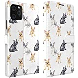 Mertak Wallet Case Compatible with iPhone 12 11 Pro Max SE Xr Xs X 8 Plus 7 6s Dogs Slim Fit Protective Lightweight Puppies Pets French Bulldogs PU Leather Kawaii Magnetic Card Holder Cute Folio