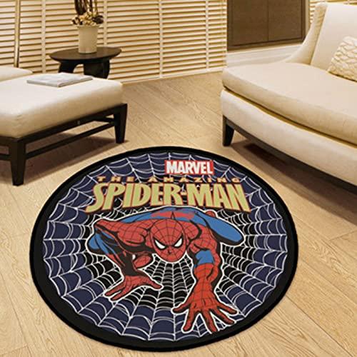 Alfombra Alfombra Redonda Regalos para Niños Y Niñas Anime Spiderman Patrón Lavable Sala De Estar Moderna Cesta Colgante Silla Giratoria Estera Estera De Yoga