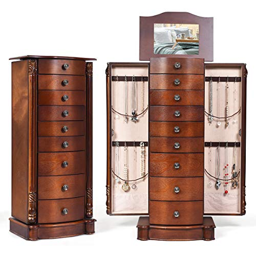 GOFLAME Jewelry Chest Armoire Cabinet Standing with Mirror, Storage Organizer for Women Standing Wood Style 6 Hooks, Makeup Display Box Stand Up Accent Furniture Bedroom5 Drawers (Walnut)