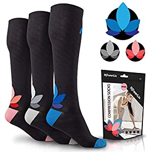 POWERLIX Compression Socks for Women & Men (Pair) 20-30 mmHg, Medical Knee High Support Stockings for Pregnancy, Maternity, Nurse, Diabetic, Travel, Flying, Running & More