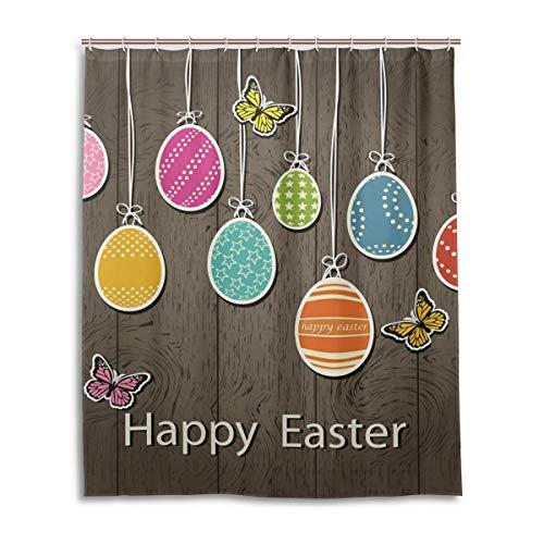 JSTEL Decor Rideau de Douche Motif œufs de Pâques 100% Polyester Tissu 152 x 183 cm