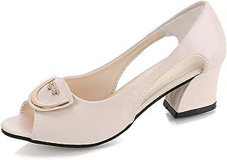 dfd5b38e8c3 JJLIKER Women Summer Peep Toe Thick Heel High Heels Fashion Hollow Slip on  Sandals Black Leather