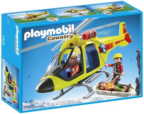 Playmobil Vida en la Montaña - Helicóptero para Rescate en montaña, Juguete Educativo, Multicolor, 35 x 10 x 25 cm, (5428)
