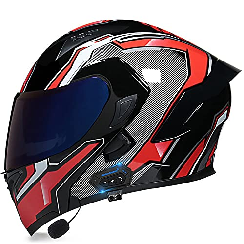 Casco De Moto Modular Bluetooth Integrado Casco Bluetooth Modular con Doble Visera Solar, Mp3 FM Walkie-Talkie Dot/ECE Casco Anticolisión Unisex Certificado 55-62CM