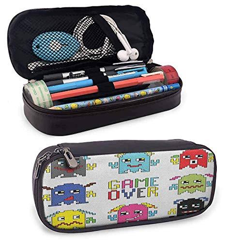 90er Jahre Pencil Bag Pixel t Emoticons mit Game Over-Zeichen Inspiriert von 90er Jahre Computerspiele Fun Artprint Zippered Pen Case für Schule, Arbeit & Büro