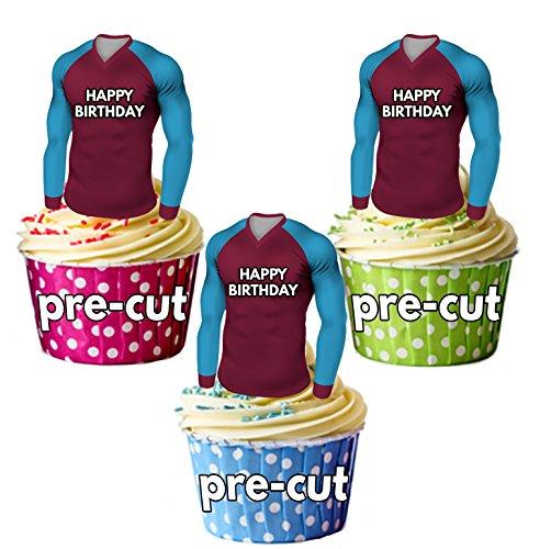 AK Giftshop PRECUT Gelukkige Verjaardag Voetbal Shirts - Eetbare Cupcake Toppers/Taart Decoraties West Ham United Kleuren (Pack van 12)