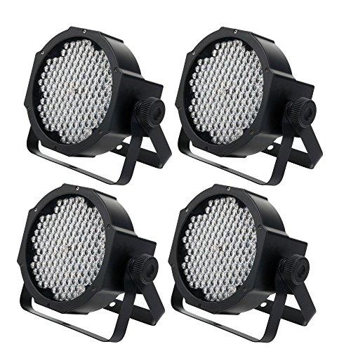 4 x Showlite FLP-144W Flatline Panel LED Scheinwerfer SET (PAR Strahler, Discolicht, Bühnenbeleuchtung, Lampe, 144 LED/RGBW mixing, Anschlüsse: DMX In/Out, 6 DMX Modi)