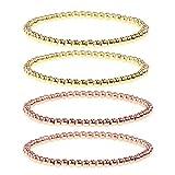 4Pcs Copper Beaded Stretch Bracelet Set Ball Beads Stacking Elastic Brass Bead Ball Stretch Bracelet Bangle for Women Men-Rose Gold + Gold
