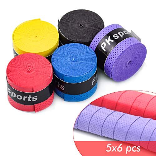 HENTEK 30 Stück Rutschfestes Griffband Anti Rutsch Overgrip Badminton Grip Rutschfester Gürtel Band für Tennis Griffbänder Squash Schläger 5 Farben