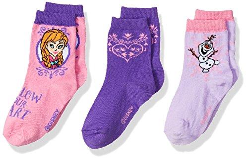 Disney Girls' Frozen 3 Pack Crew Socks