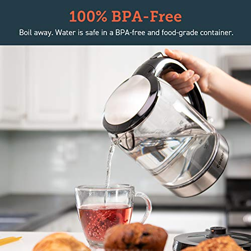 COSORI Electric Kettle Glass Hot Water Boiler & Tea Heater with LED Indicator Inner Lid & Bottom, Auto Shut-Off&Boil-Dry Protection, BPA Free,1.7L, Black