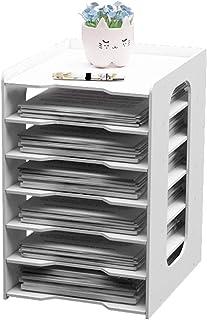 卓上収納 ラック A4ファイルラック 組み立て式 プラスチック デスク上置き棚 新聞/雑誌/フォルダー/書類入れ レターケース 机上用品 書類ケース整理 収納 オフィス 寝室 リビング収納 (7仕切り)