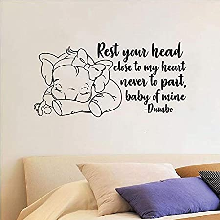 Dumbo Poster Wall Decal Rest Your Head Close To My Heart Elephant Disney Quote Vinyl Sticker Baby Nursery Decor Art Removable Mural 154ct