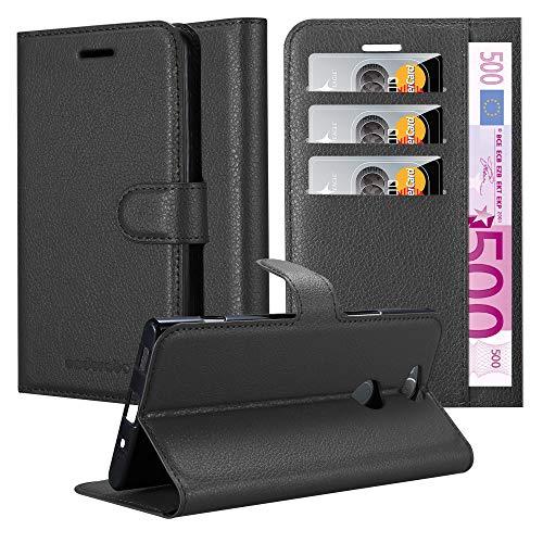 Cadorabo Hülle für Sony Xperia XA2 Plus - Hülle in Phantom SCHWARZ - Handyhülle mit Kartenfach & Standfunktion - Hülle Cover Schutzhülle Etui Tasche Book Klapp Style