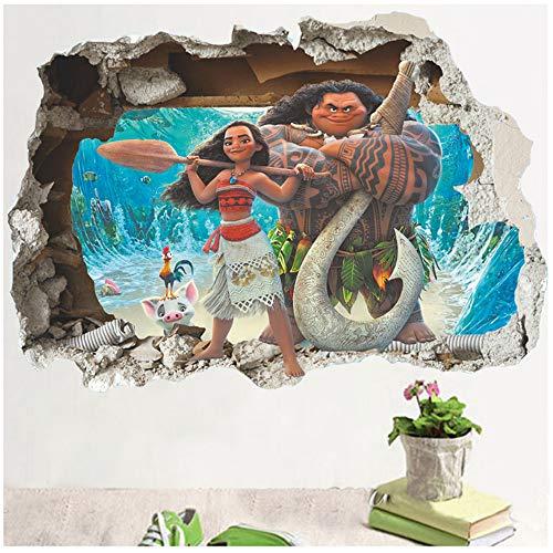ZGQQQ Cartoon Film Moana Maui Vaiana Wandaufkleber Für Kinderzimmer 3D Effekt Wandtattoos Kinder PVC Kunst Decals Kinderzimmer Dekor