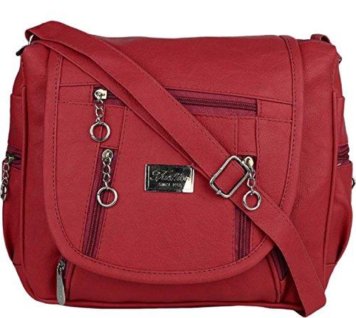 Maango Sitar PU Girl's Sling Bag, Cross Bag (Maroon)