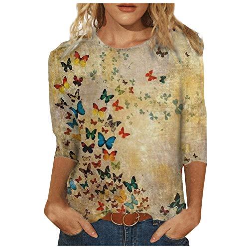 Xmiral T-Shirt Damen Tie-Dye 3/4 Ärmel Rundhals Shirt Tier/Landschaft Drucken Bluse Tops Slim Fit Frau Bottoming Shirt(d-Khaki,XL)