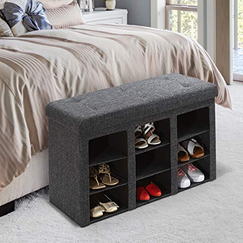 Seville Classics 9-Bin Foldable Tufted Shoe Storage Ottoman Bench...