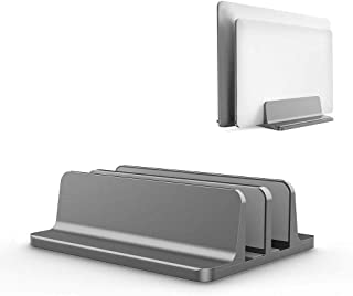 COODIO Vertical Laptop Stand Double Desktop Stand Holder with Adjustable Dock (Up to 17.3 Inch) Gray