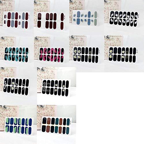 12 Feuilles Pleine Enveloppe Auto-Adhésives Vernis À Ongles Autocollants Bricolage Auto-Adhésif Noir Petite Marguerite Contraste Couleur Pour Femmes Filles
