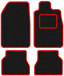 Citroen 2003-2009 Custom Fit Taliored Car Mats Set Deluxe Quality Black Carpet with Red Trim